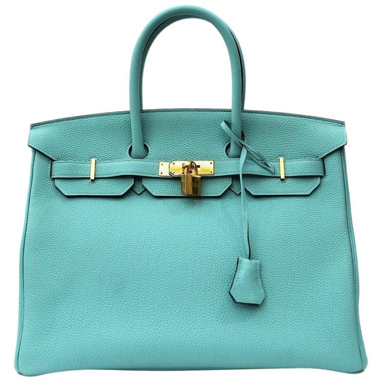 6b80aeafbf Hermès Blue Atoll Togo Gold Hardware Top Handle Birkin 35 Bag at 1stdibs