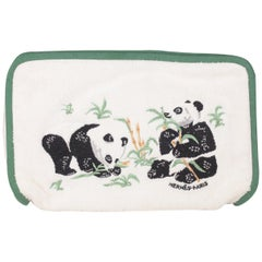 Hermes Paris White Terry Cloth Cotton Cosmetic Bag with Panda