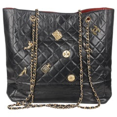 Chanel Vintage Black Quilted Leather Tote Shopping Bag with Charms