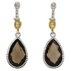 Judith Ripka Sterling/Diamond/18K W/ Smokey Quartz Tear Drop Earrings