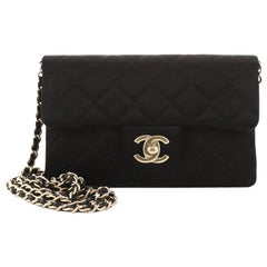Chanel CC Chain Zip Flap Bag Quilted Satin Small