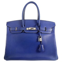 Hermès Bleu Electrique Epsom 35 cm Birkin Bag with Mykonos Blue Interior