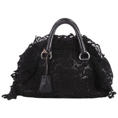 Prada Pizzo S Bowler Bag Lace and Leather Large