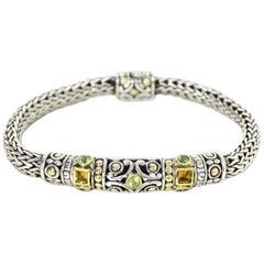 John Hardy Sterling Silver/18K Gold Batu Bracelet W/ Faceted Peridot & Citrine