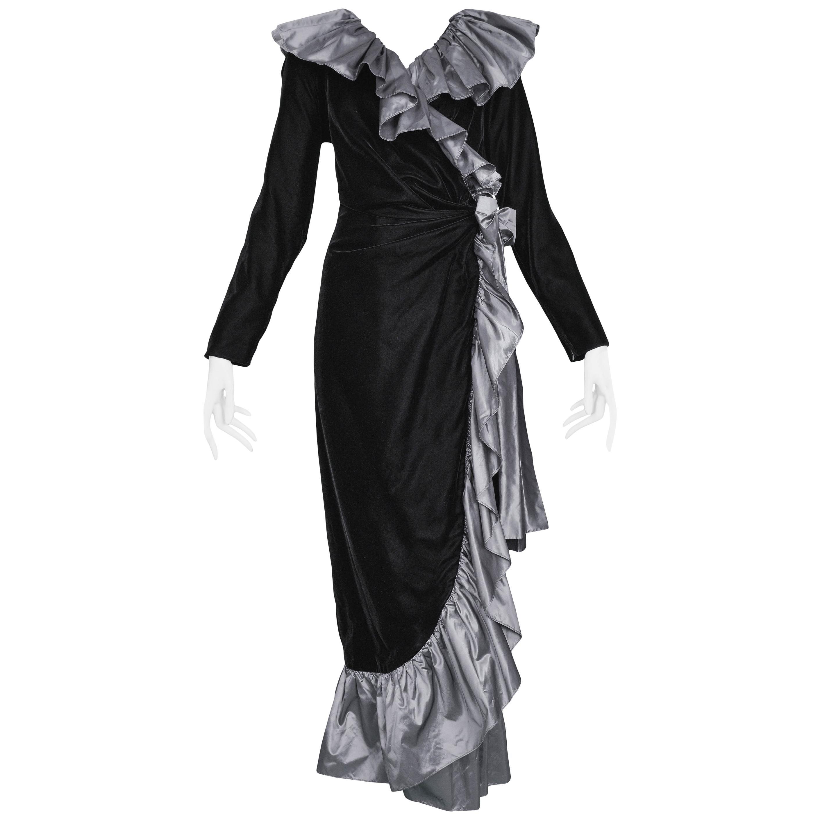 Yves Saint Laurent Silver Taffeta Ruffle Gown, 1980s