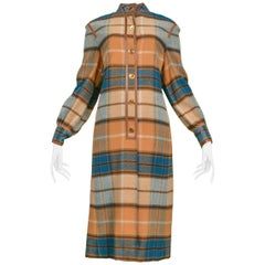 Gucci Green and Brown Plaid Coat Dress, 1970s