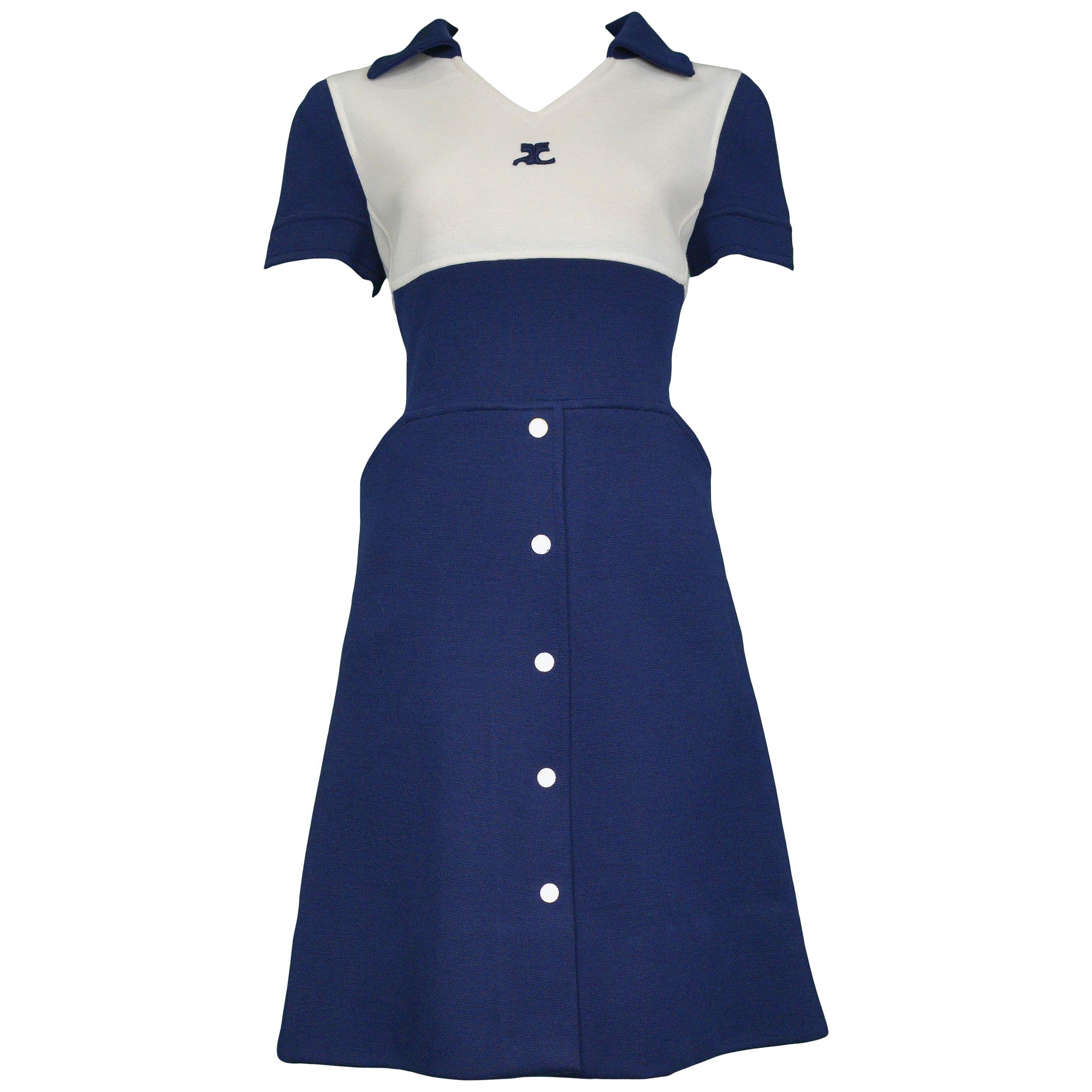 Vintage Courrèges Blue and White Button Dress 1960s