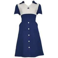 Vintage Courrèges Blue and White Button Dress 1960s