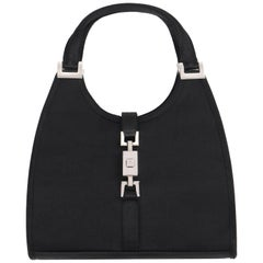 "GUCCI ""Mini Jackie"" Black Silk Satin Top Handle Piston Clasp Satchel Evening Bag"