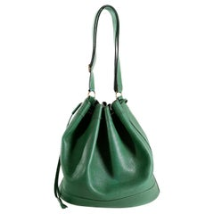 Hermès Bengal Green Epsom Leather Drawstring Market Bag