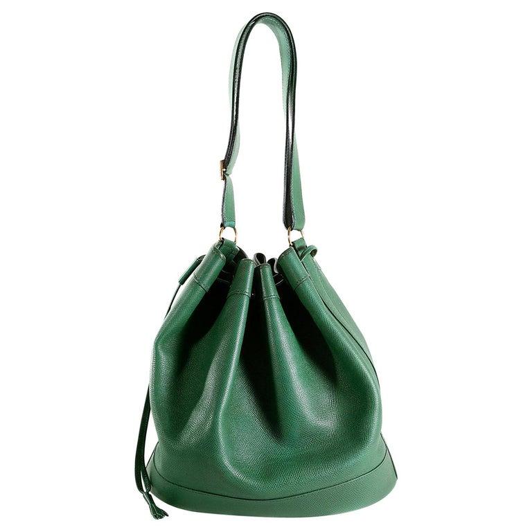 Hermès Bengal Green Epsom Leather Drawstring Market Bag