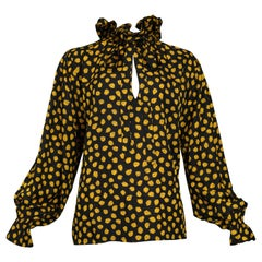 Yves Saint Laurent Yellow and Black Leaf Print Blouse, 1970s