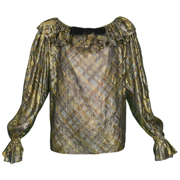 Yves Saint Laurent Gold and Black Metallic Blouse, 1980s   For Sale