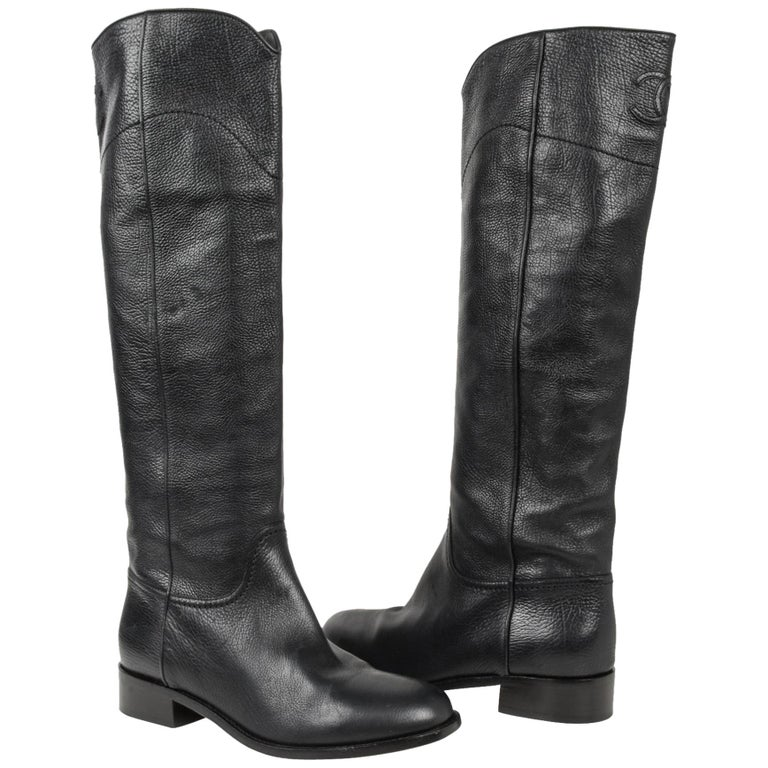 09a7b29531f2 Chanel Boot Black Textured Leather Flat Knee High CC Logo 39.5   9.5 For  Sale