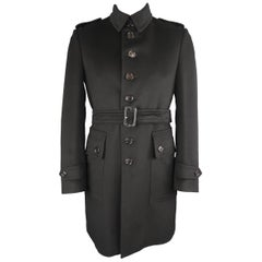 Burberry London Black Solid Wool / Cashmere Trench Coat
