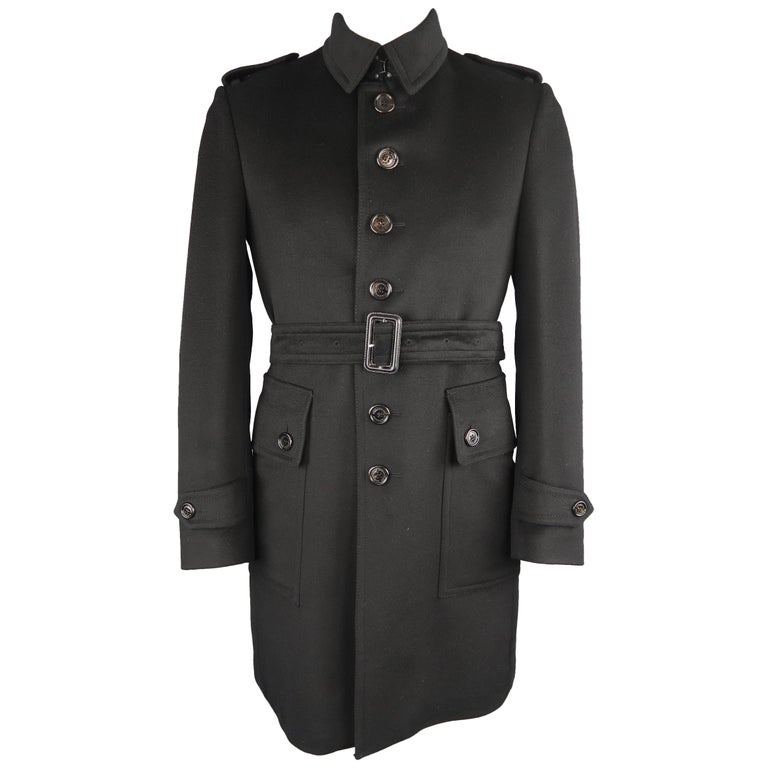 Burberry London Black Solid Wool / Cashmere Trench Coat For Sale