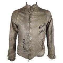 Giorgio Brato Gray Distressed Leather High Collar Biker Jacket