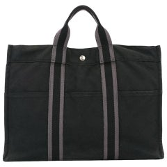 Hermes Grey Canvas Tote Bag