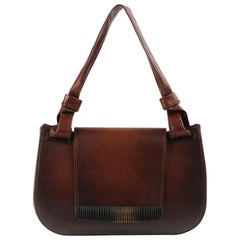 GUCCI Brown Leather Carved Bamboo Wood Flap Top Shoulder Bag Purse
