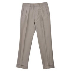 Tom Ford Men's Light Grey Cotton Pleated Front Trousers