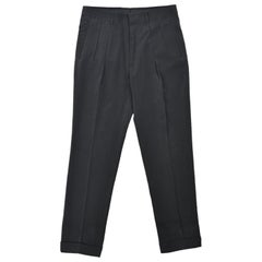 Tom Ford Men Dark Grey Silk Pleat Straight Trouser