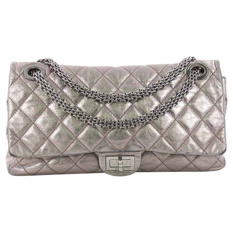 2b119f934f3685 Chanel Reissue 2.55 Handbag Quilted Metallic Aged Calfskin 228 For Sale