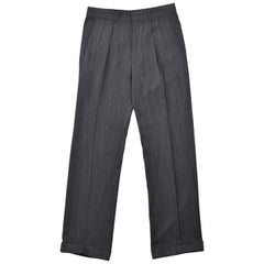 Tom Ford Men Grey Blue Wool Pleat Straight Leg