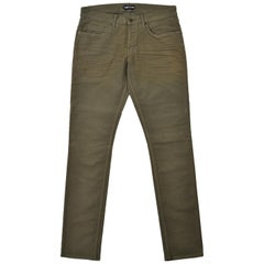Tom Ford Men's Light Olive Green Cotton Slim Jeans