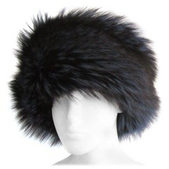 Blue Fox & Leather Hat, Never worn- Lafuria