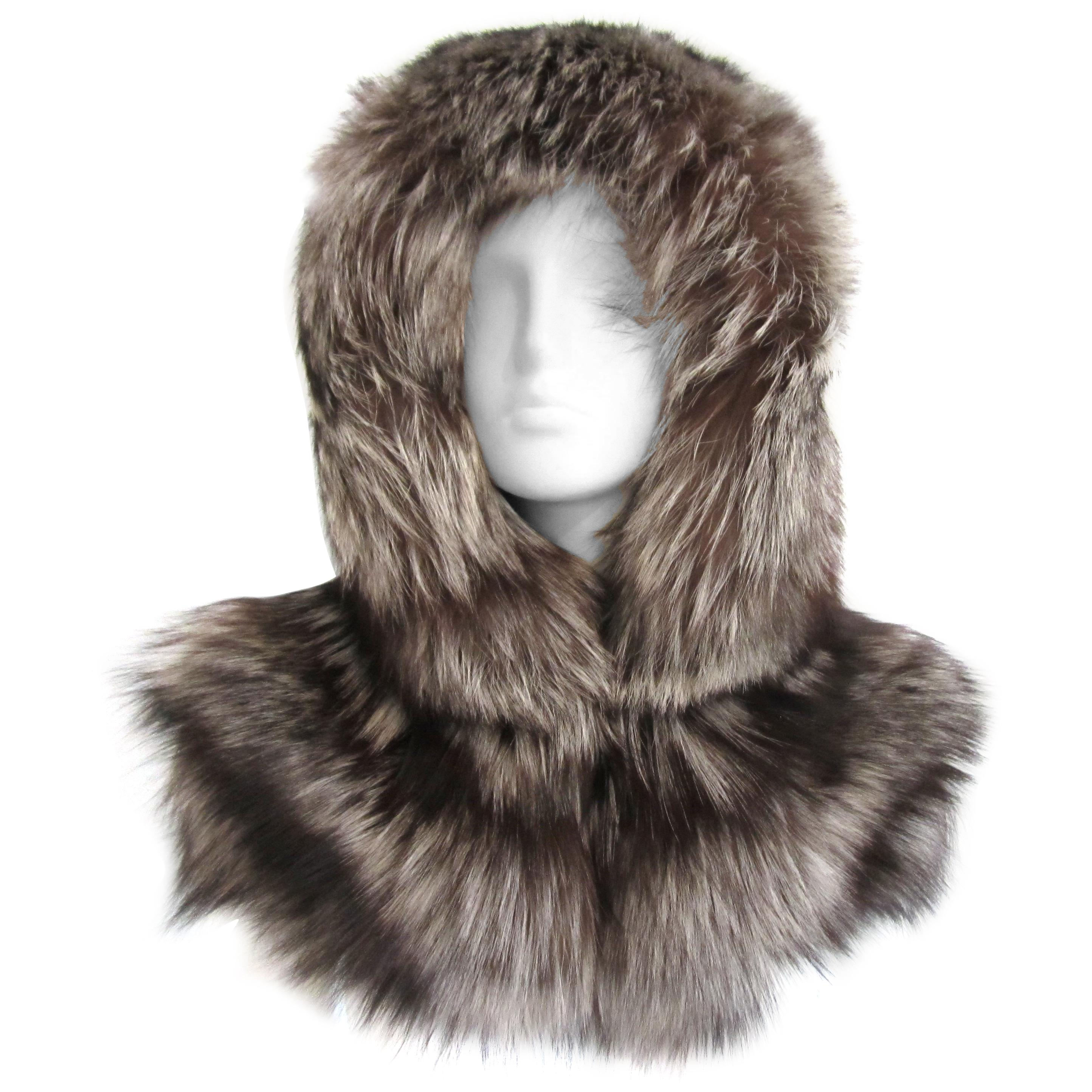 Silver tipped Fox Fur Hooded Shrug Capelet ONE size