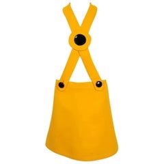 1969 Pierre Cardin Yellow Wool Black Patent Bullseye Mod Target Pinafore Dress
