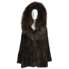 Stunning Mink Coat  w/ Oversized Fox Collar Hood -Jacket