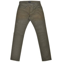 Tom Ford Mens Light Olive Green Straight Fit Jeans