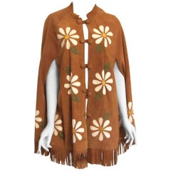 Vintage 1960s Funky Suede Floral Cape