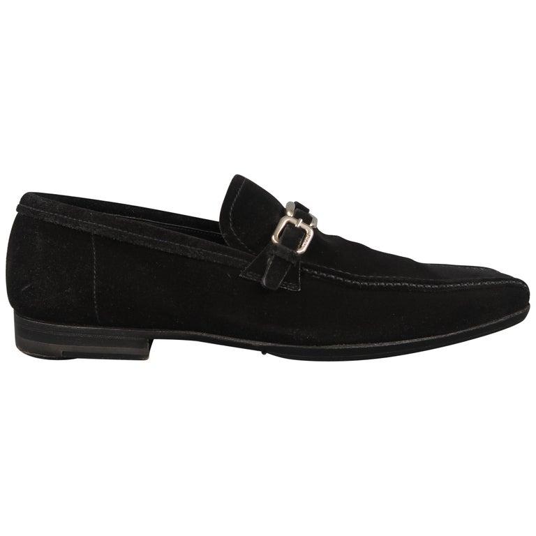 Prada Loafers - Black Suede Silver Metal Buckle Shoes