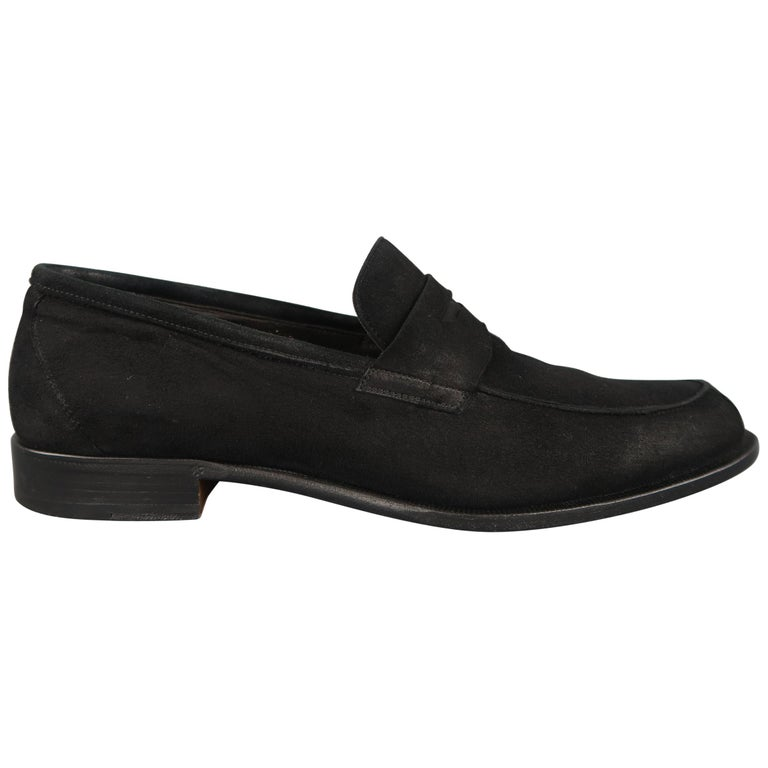 BRUNO MAGLI Size 10.5 Black Suede Penny Loafers Shoes