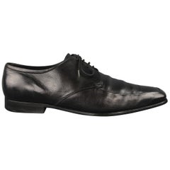 Prada Black Leather Apron Toe Lace Up Dress Shoes