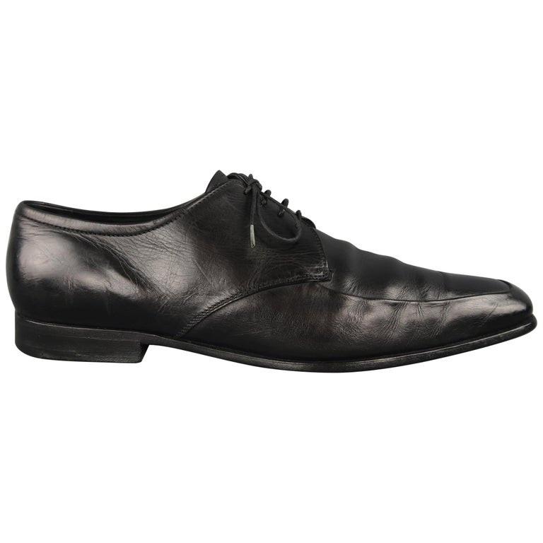 Prada Dress Shoes Black Leather A Toe Lace Up For