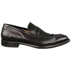 Neil Barrett Loafers - Black Solid Leather Zipper Piping Shoes