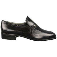 Moreschi Dress shoes - Black Leather Apron Toe Silver Hardware Loafers