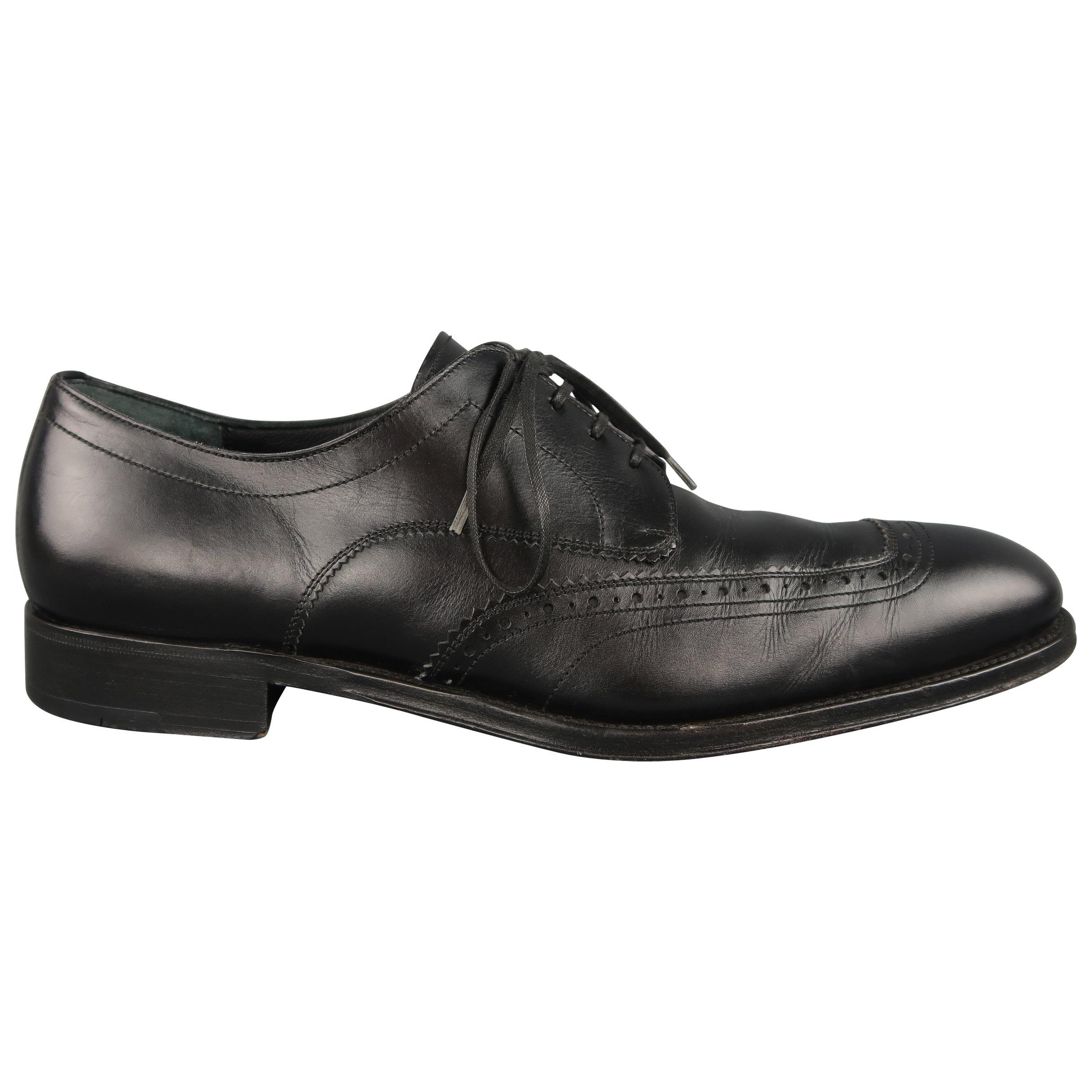 Salvatore Ferragamo Black Leather Brogue Lace Up Dress Shoes