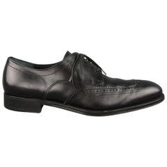 Salvatore Ferragamo Black Leather Brogue Lace Up Dress Shoes