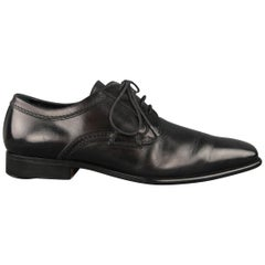 Dolce & Gabbana Black Leather Squared Point Toe Lace Up Dress Shoes