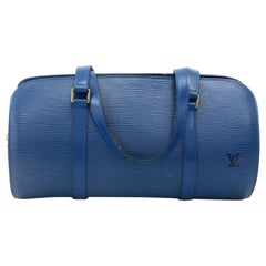 Vintage Louis Vuitton Soufflot Blue Epi Leather Handbag
