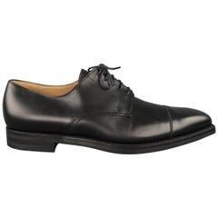 Crockett & Jones Black Leather Cap Toe Lace Up Dress Shoes