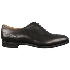 Barbanera Black Brogue Leather Cap Toe Lace Up Dress Shoes