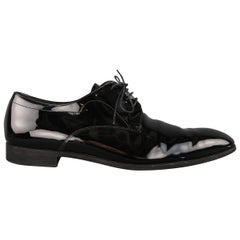 Prada Black Patent Leather Tapered Toe Lace Up Dress Shoes