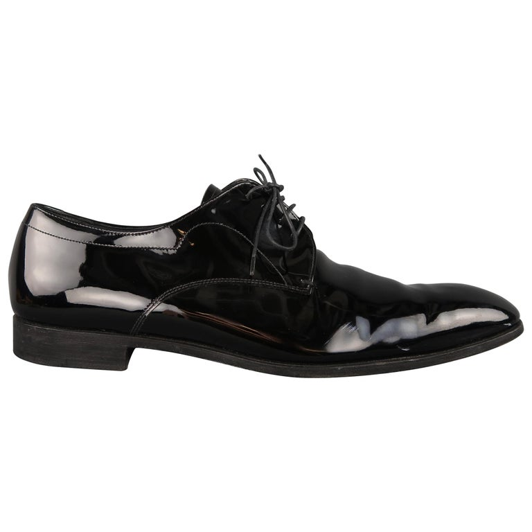 6d625804a9 Prada Black Patent Leather Tapered Toe Lace Up Dress Shoes