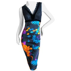 D&G Dolce & Gabbana Mod Print Velvet Trim Cocktail Dress with Sheer Bust