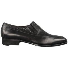 A.Testoni Dress Shoes / Black Lizard Leather Panel Dress Loafers